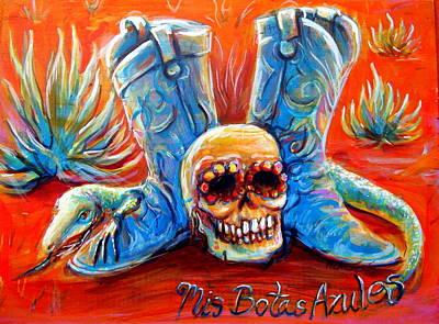 Vaquero Painting - Mis Botas Azules by Heather Calderon