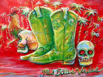 Vaquero Painting - Mis Botas Verdes by Heather Calderon