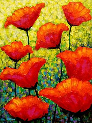 Mixed-media Painting - Mischa's Poppies by John  Nolan