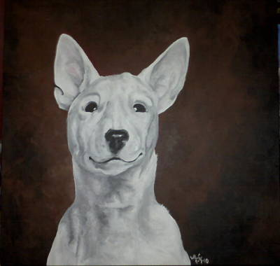 English Bull Terrier Painting - Mischief by Whitney Coolidge