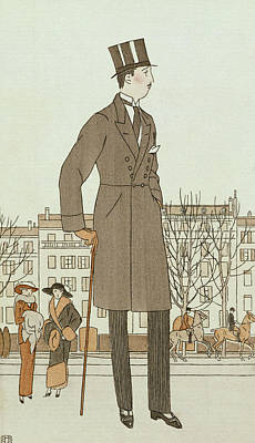 Art Deco Drawing - Mise D'un Jeune Homme by French School