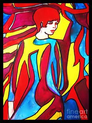 Global Design Shibori Inspired - Miss 1966 Detail 2 by Joan-Violet Stretch