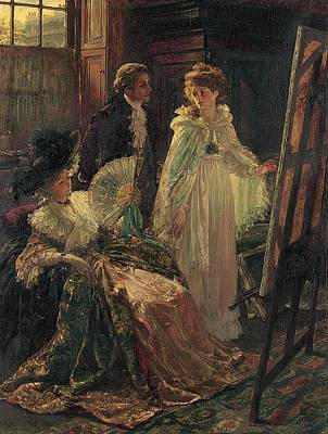 Inspecting Painting - Miss Angel Visits Mr Reynolds Studio by Margaret Isabel Dicksee