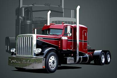 Miss Behavin 1990 Peterbilt Semi Truck Art Print