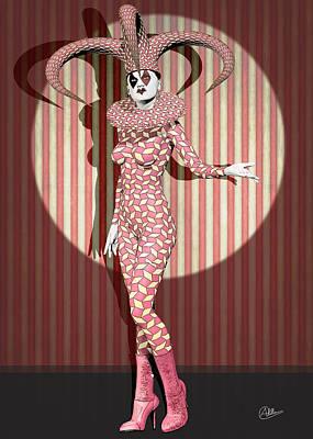 Framed Art Digital Art - Joker Woman by Quim Abella