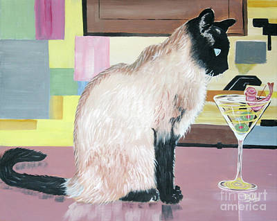 Martini Painting Royalty Free Images - Miss Kitty and Her Treat Royalty-Free Image by Phyllis Kaltenbach