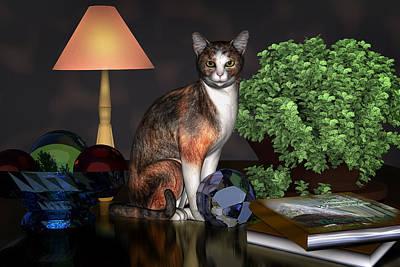 Digital Art - Miss Kitty by Mary Almond