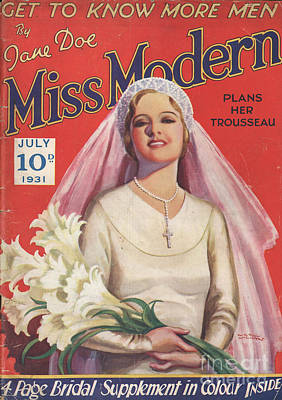 Miss Modern 1931 1930s Uk   Brides Art Print by The Advertising Archives