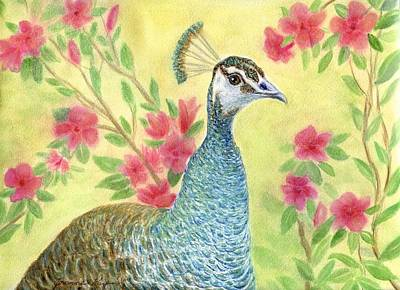 Painting - Miss Peahen In The Garden by Jeanne Kay Juhos