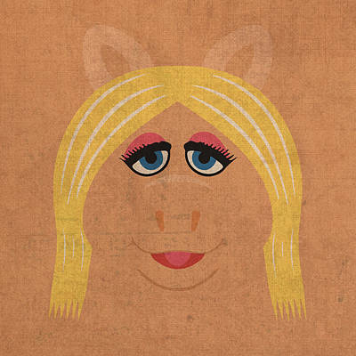 Miss Piggy Vintage Minimalistic Illustration On Worn Distressed Canvas Series No 011 Art Print by Design Turnpike