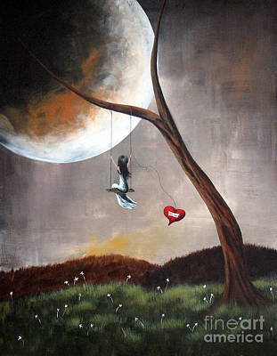 Surrealist Painting - Original Surreal Artwork Girl On Swing by Shawna Erback