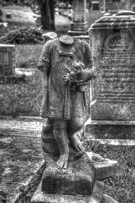 Elmwood Cemetery Photograph - Missing Pieces- Black And White by Shannon Louder