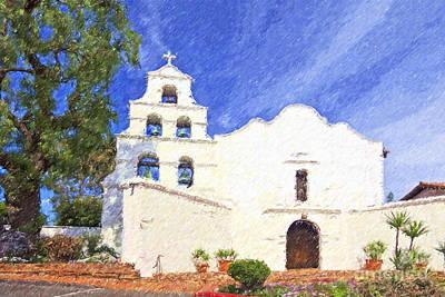 Digital Art - Mission Basilica San Diego De Alcala Usa by Liz Leyden