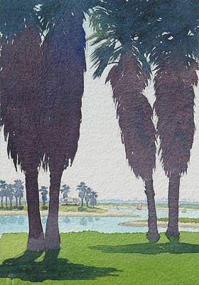 Bay Painting - Mission Bay Park With Palms by Mary Helmreich