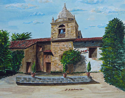 Carmel Mission Painting - Mission Bell Tower by Dale Yarmuth
