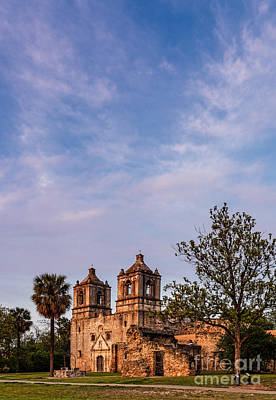 Mission Concepcion At Dusk Golden Hour - San Antonio Texas Art Print