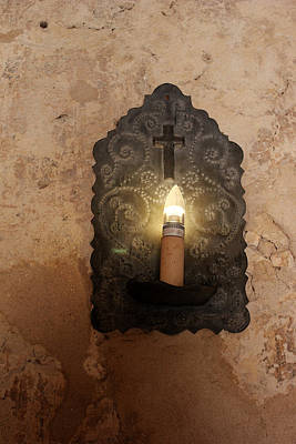 Photograph - Mission Concepcion Light Fixture by Mary Bedy