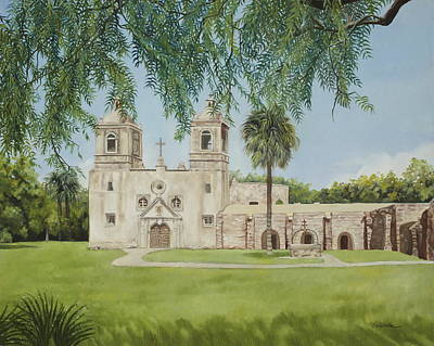 Spanish Mission Church Painting - Mission Concepcion by Vaunda Hawkins