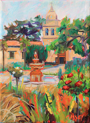 Mission California Painting - Mission Courtyard by Marie Massey