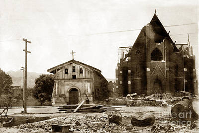Photograph - Mission Dolores San Francisco Earthquake And Fire Of April 18 1906 by California Views Mr Pat Hathaway Archives