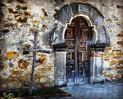 Ornate Photograph - Mission Espada Entrance by Stephen Stookey