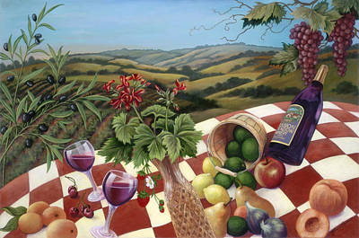Pear Tree Painting - Mission Meadow Picnic by Glenda Stevens