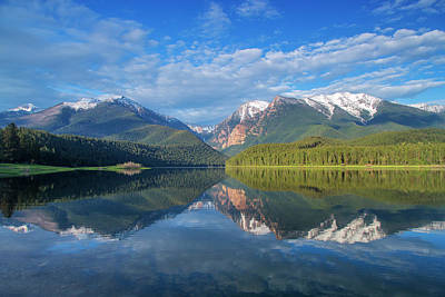 Mission Reservoir Reflecting Peaks Art Print by Chuck Haney