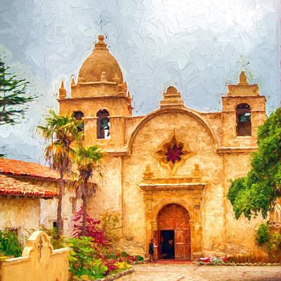 Photograph - Mission San Carlos Borromeo De Carmelo Impasto Style by Dan McManus