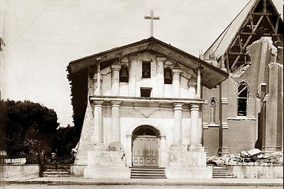 Photograph - Mission San Francisco De Asis California Mission Dolores May 1906 After The Earthquake by California Views Archives Mr Pat Hathaway Archives