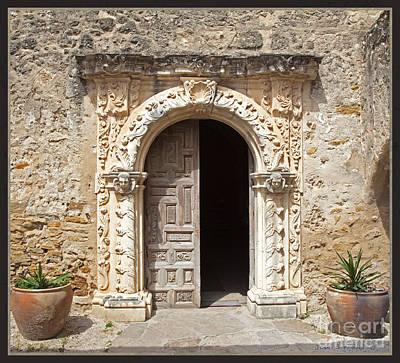 Mortar Photograph - Mission San Jose Chapel Entry Doorway by John Stephens
