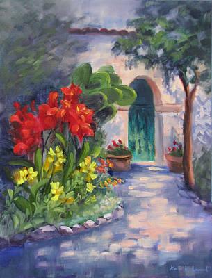 San Juan Painting - Mission San Juan Bautista Cana Lilies  by Karin  Leonard