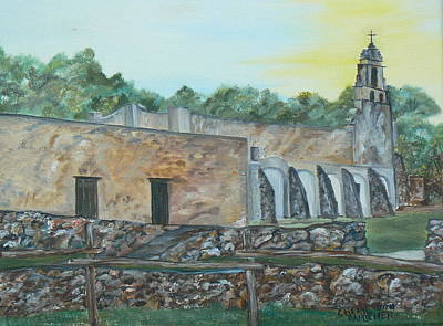 Spanish Mission Church Painting - Mission San Juan by Cheryl Damschen