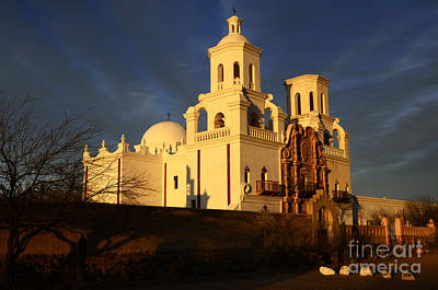 San Xavier Photograph - Mission San Xavier Del Bac Last Light by Bob Christopher