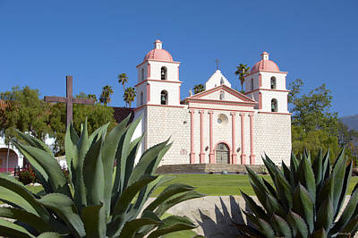 Mission Santa Barbara Print by Barbara Snyder