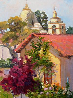 Carmel Mission Painting - Mission Towers by Rhett Regina Owings