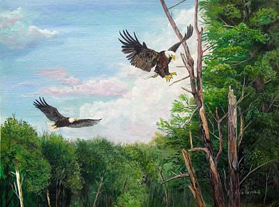 Animal Behavior Painting - Mississippi Backwater Eagles by Alvin Hepler