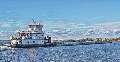 Photograph - Mississippi Coal Barge by Cathy Jourdan