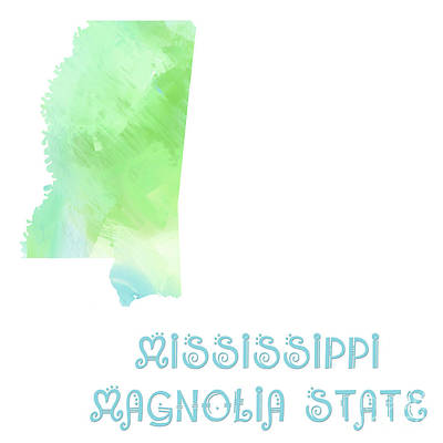 Mississippi Map Digital Art - Mississippi - Magnolia State - Map - State Phrase - Geology by Andee Design