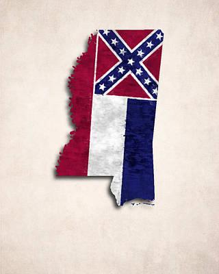 Mississippi Map Digital Art - Mississippi Map Art With Flag Design by World Art Prints And Designs