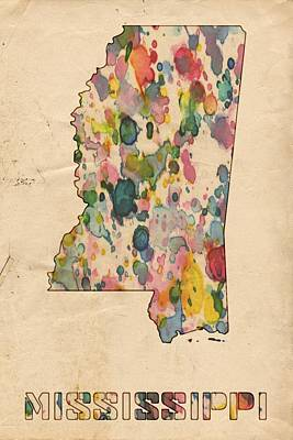 Mississippi Map Painting - Mississippi Map Vintage Watercolor by Florian Rodarte