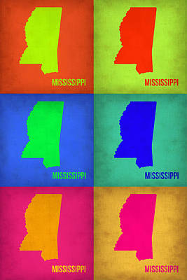Mississippi Map Painting - Mississippi Pop Art Map 1 by Naxart Studio