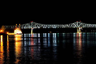 Mississippi River Bridge At Night Art Print by Mary Koval