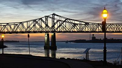 Photograph - Mississippi River Bridge Natchez Sunset by Jim Albritton