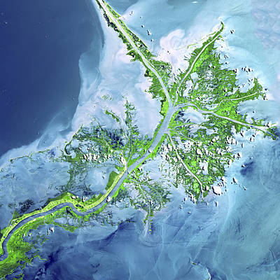 Abstract Map Photograph - Mississippi River Delta by Adam Romanowicz
