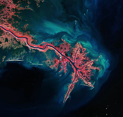 Telescope Photograph - Mississippi River Delta by Celestial Images