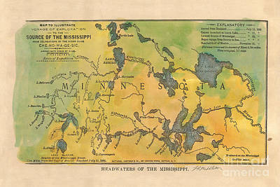 Mississippi River Headwaters 1887 Hand Painted Map Original by Lisa Middleton