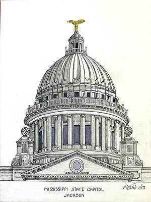 Drawing - Mississippi State Capitol by Frederic Kohli