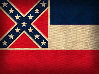 Flag Mixed Media - Mississippi State Flag Art On Worn Canvas by Design Turnpike