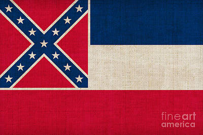 Mississippi State Flag Art Print by Pixel Chimp