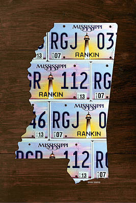 Mississippi State License Plate Map Art Art Print by Design Turnpike